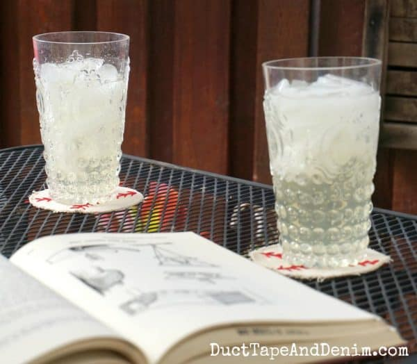 Drinking ginger ale and lemonade on the patio | DuctTapeAndDenim.com