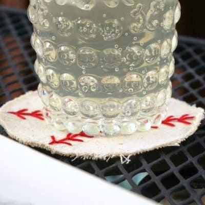 How to Make Embroidered DIY Canvas Baseball Coasters