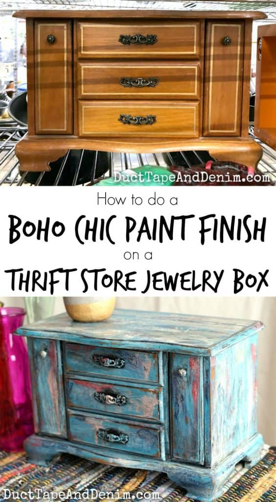 How to do a boho paint finish on a thrift store jewelry box | DuctTapeAndDenim.com