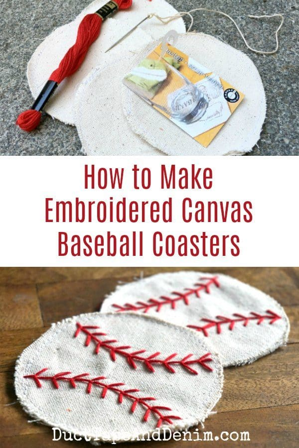 How to make embroidered canvase baseball coasters | DuctTapeAndDenim.com