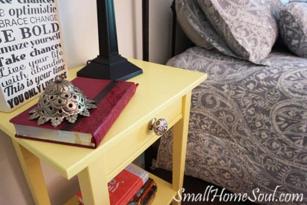 How to style a nightstand - Ikea-Nightstand with unique doo dad