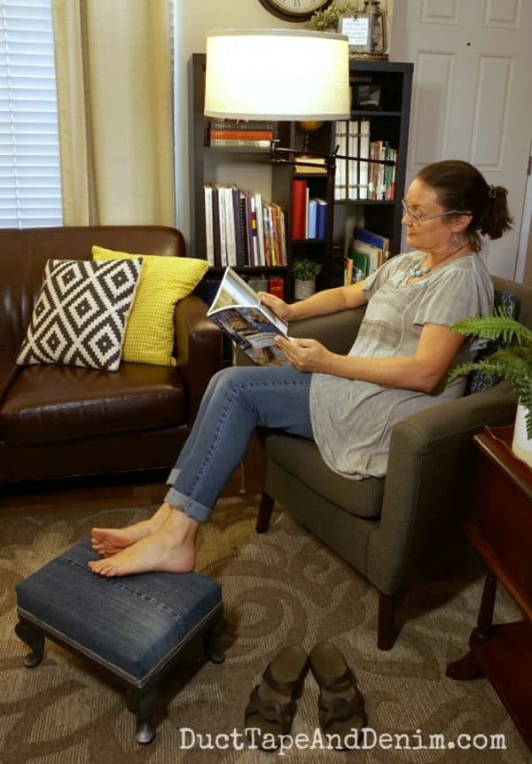 Reading with my new floor lamp and denim footstool | DuctTapeAndDenim.com