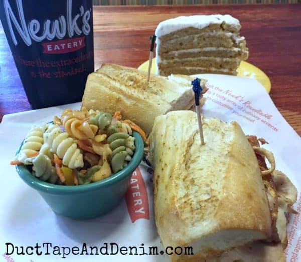 Sandwich, pasta salad, and cake at Newk's in Waco | DuctTapeAndDenim.com
