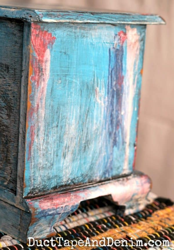 Side of my turquoise jewelry box with a bohemian paint finish | DuctTapeAndDenim.com