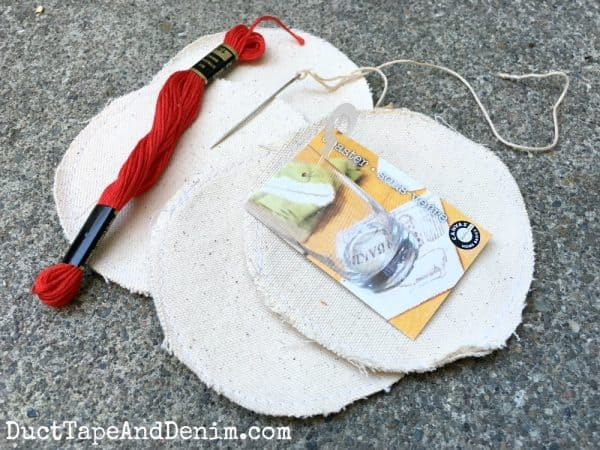 Supplies for embroidered canvas baseball coasters | DuctTapeAndDenim.com
