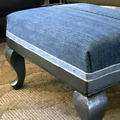 Denim Footstool Makeover with Faux Metal Paint Finish {VIDEO}