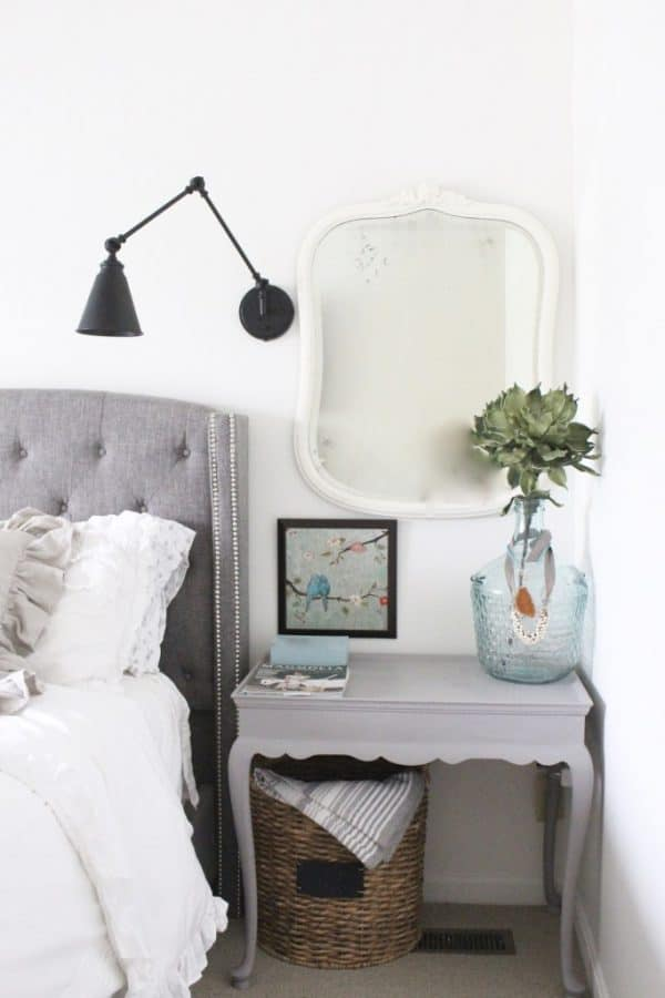 how to style a nightstand - basket storage