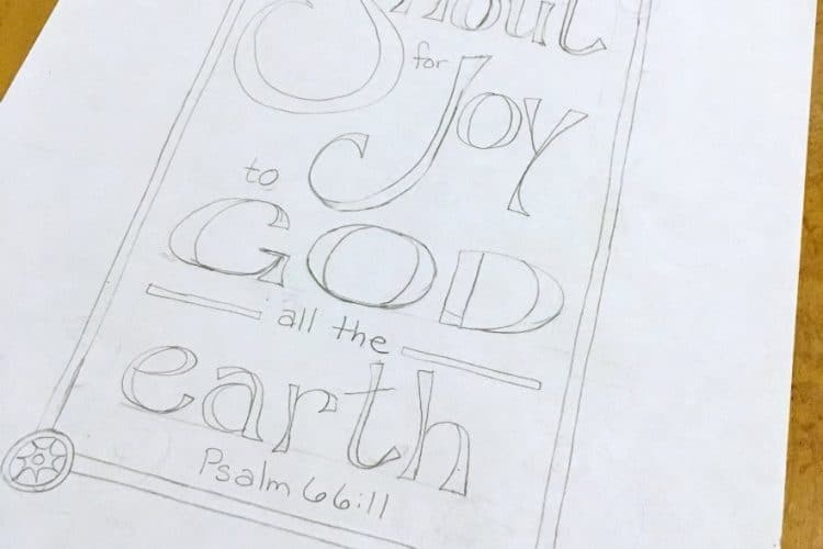 Bible Verse Coloring Page, Psalm 66 11, Shout for Joy!
