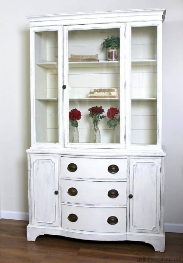 vintage china cabinet-farmhouse-china-cabinet-makeover-shiplap