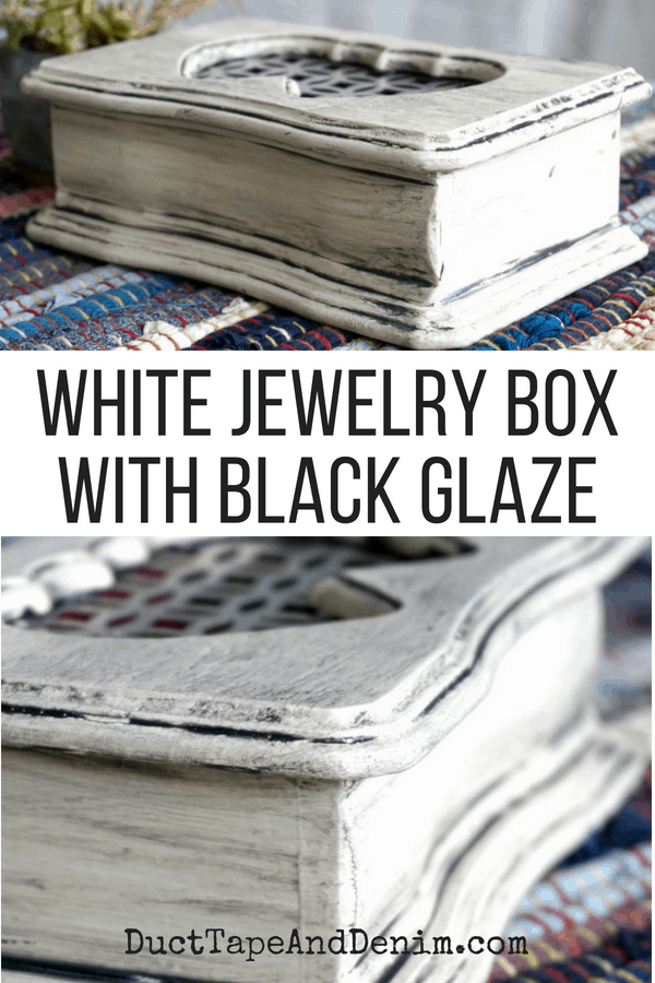 White jewelry box with black glaze | DuctTapeAndDenim.com