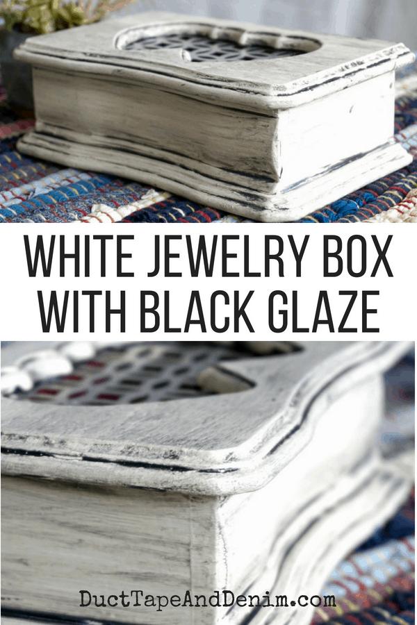 White jewelry box with black glaze