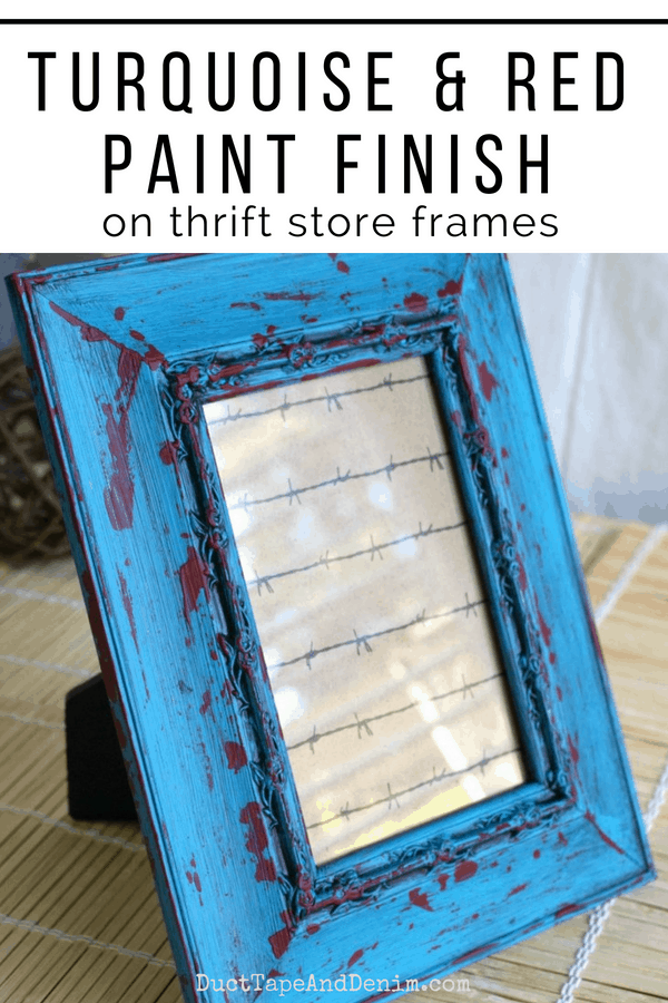 Turquoise and Red Paint Finish on Thrift Store Frames | DuctTapeAndDenim.com