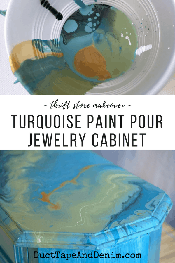 Turquoise paint pour jewelry cabinet thrift store makeover | DuctTapeAndDenim.com
