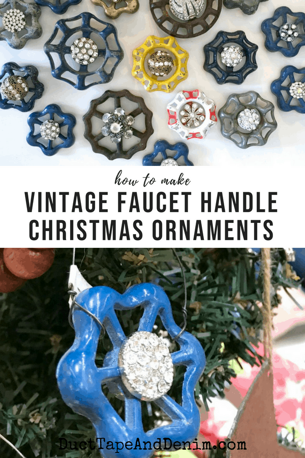 How to make Christmas ornaments from faucet handles. DuctTapeAndDenim.com