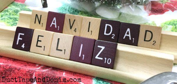 Feliz Navidad Scrabble tiles | DuctTapeAndDenim.com