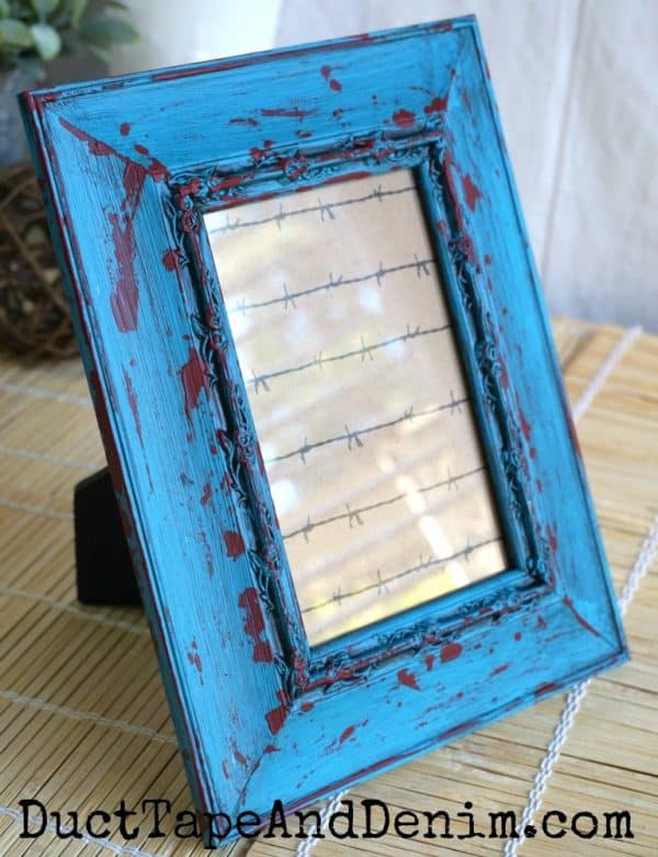 Finished turquoise and red frame | DuctTapeAndDenim.com