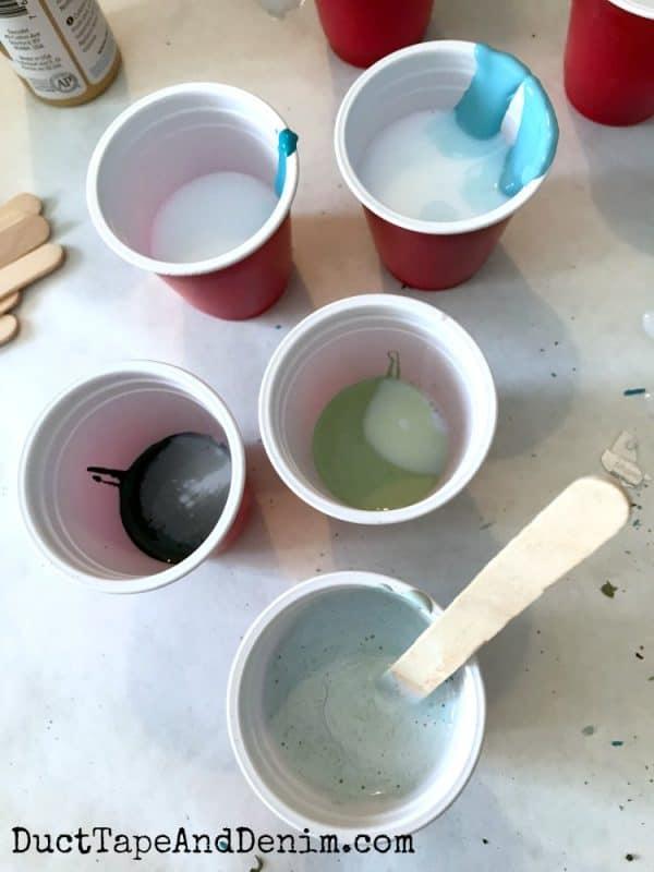 Mixing paint for paint pour | DuctTapeAndDenim.com