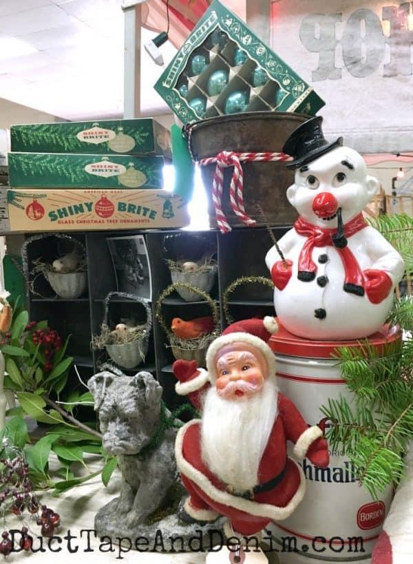 Santa and Snowman display at Mes Amis | DuctTapeAndDenim.com