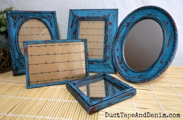 Set of 5 turquoise and red frames | DuctTapeAndDenim.com