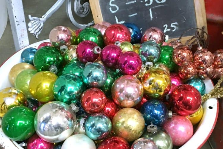 Shiny Brite Christmas ornaments in bowl at Mes Amis Noel SQUARE