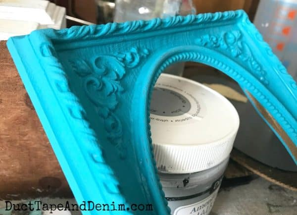 Turquoise paint on thrift store frame | DuctTapeAndDenim.com