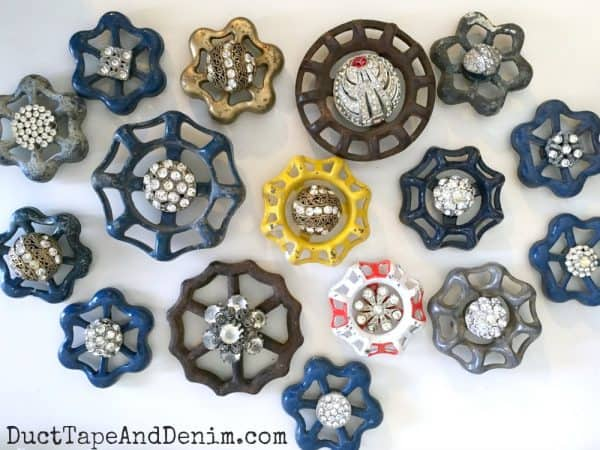 Vintage junk Christmas ornaments made with old faucet handles