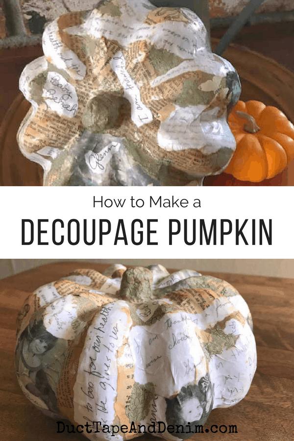 Decoupage paper mache pumpkins