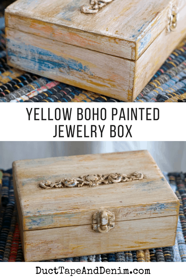 Yellow boho painted jewelry box | DuctTapeAndDenim.com