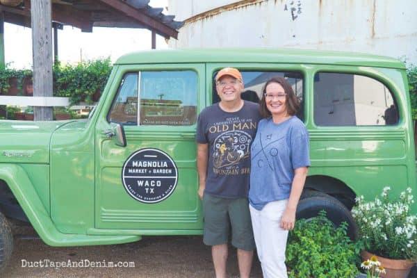 Glenn and Ann in front of the Magnolia Market truck | DuctTapeAndDenim.com #magnoliamarket #waco #wacotx #fixerupper #joannagaines