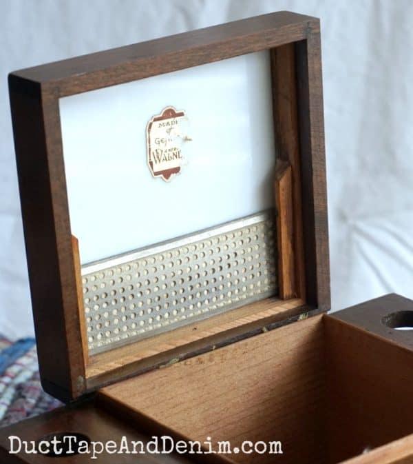 Inside vintage humidor