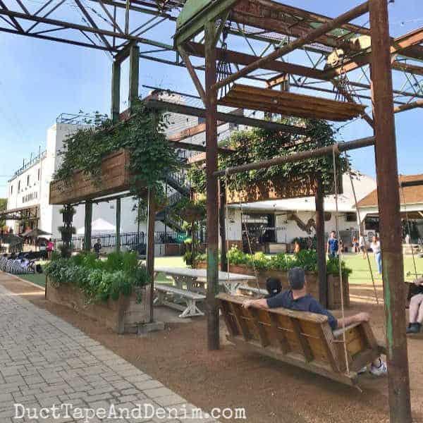 Magnolia Market porch Swings | DuctTapeAndDenim.com #magnoliamarket #waco #wacotx