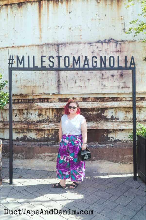 Jordann at Magnolia Market silos | DuctTapeAndDenim.com #milestomagnolia #magnoliamarket #silos #fixerupper