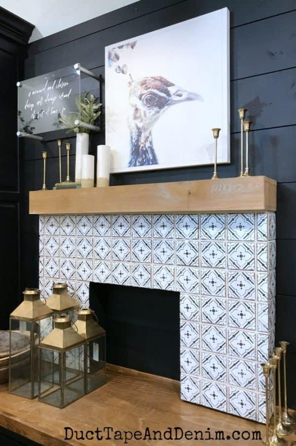 Tile mantel inside Magnolia Market, summer 2018 | DuctTapeAndDenim.com