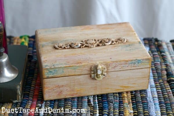 Yellow boho paint finish on jewelry box | DuctTapeAndDenim.com