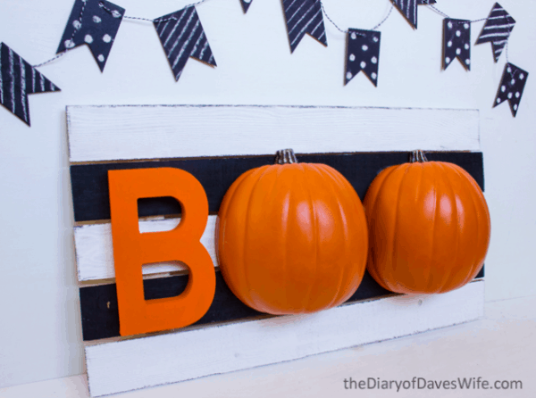 boo sign with 3d pumpkins
