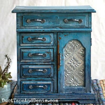 How to Create a Turquoise Drip Jewelry Cabinet with a Cork Lining