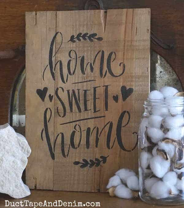 home sweet home stenciled sign.Vertical