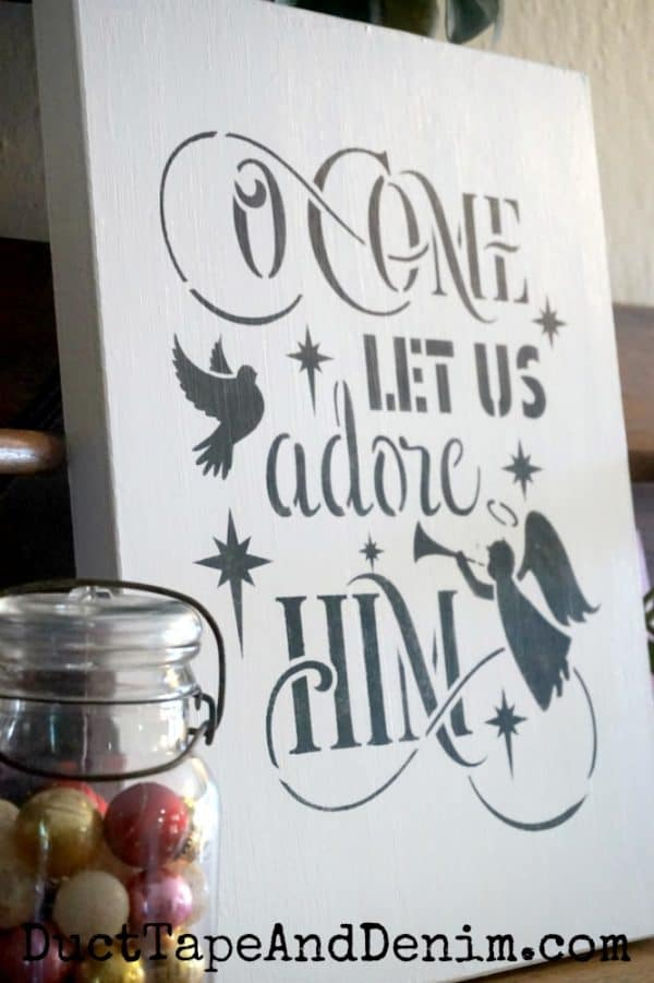 O Come Let us Adore Him Christmas Sign - portrait
