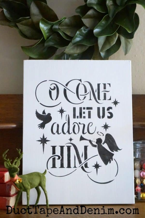 O Come Let us Adore Him, with vintage deer - vertical