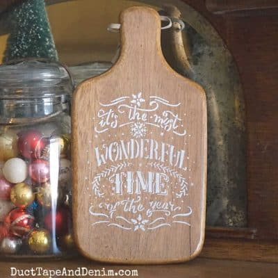 How to Upcycle Old Cutting Boards with Christmas Stencils {VIDEO}