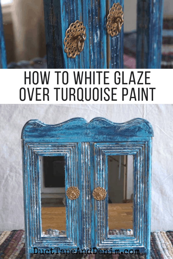 How to white glaze over turquoise paint, collage 1