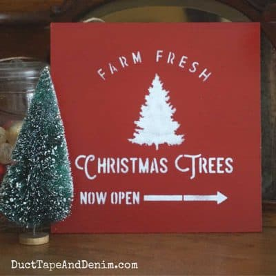 How to Update Thrift Store Finds with Christmas Tree Stencils