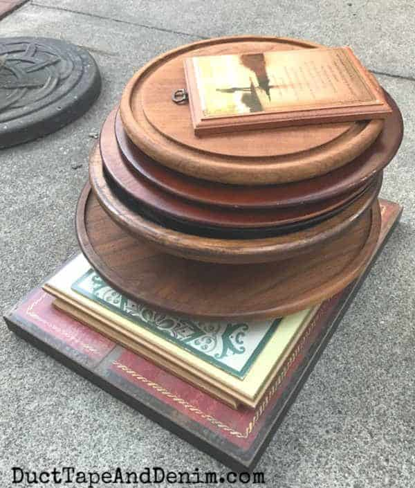 stack of wood items from thrift store