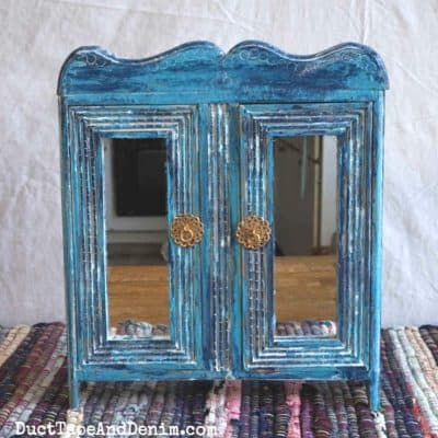 How to Update a Thrift Store Cabinet with Turquoise Paint & White Glaze