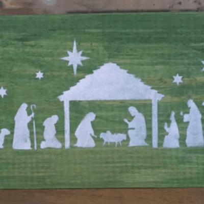 How to Make a Simple Nativity Scene Christmas Sign with a Stencil