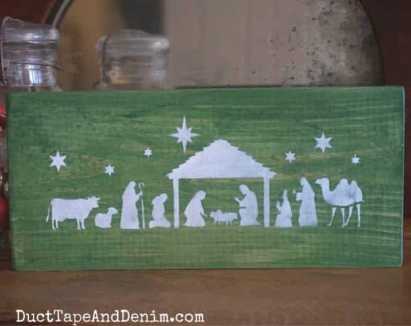 Nativity scene sign, green