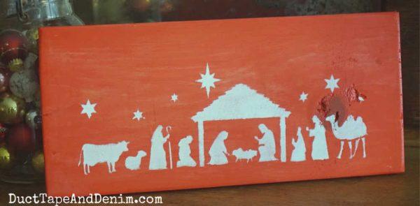 Nativity Stencil Red sign