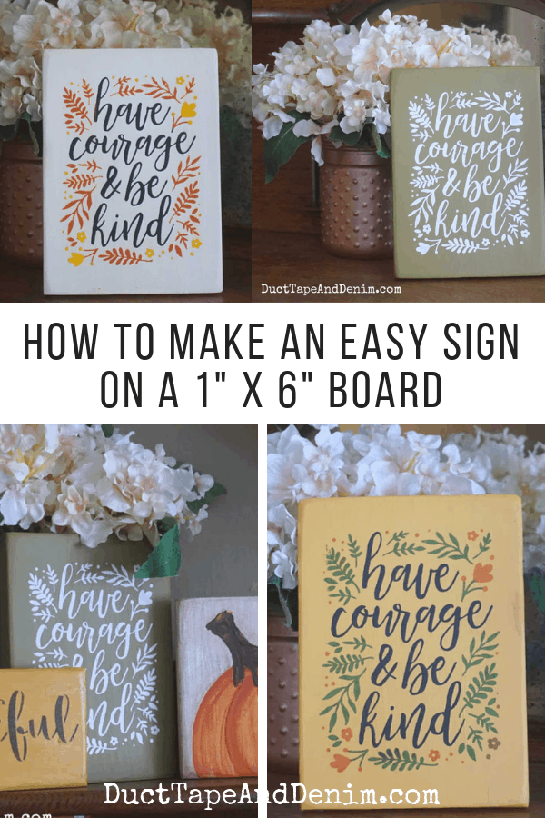 How to make a sign on a 1x6 board, collage 1