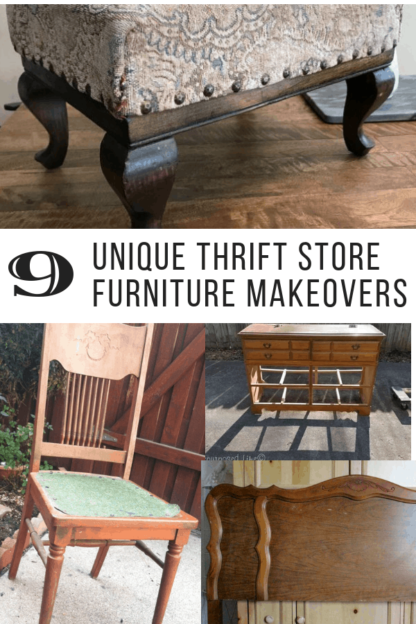 thrift store furniture makeovers, collage 1
