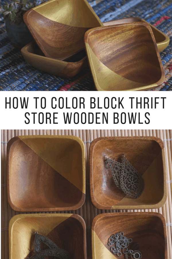 How to color block thrift store wooden bowls